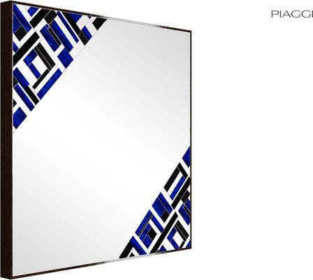 Abstract Square Double Blue Mosaic Mirror image 3