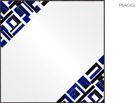 Abstract Square Double Blue Mosaic Mirror image 4