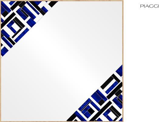 Abstract Square Double Blue Mosaic Mirror image 6