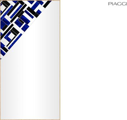 Abstract Rectangle Cross Blue Mosaic Mirror image 4