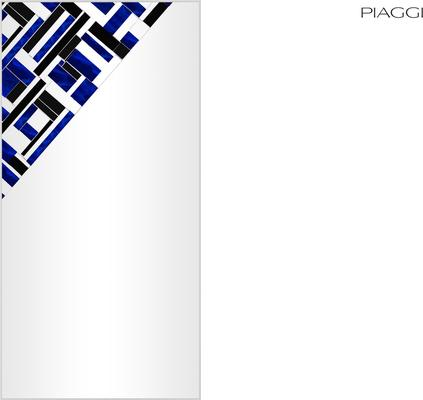 Abstract Rectangle Cross Blue Mosaic Mirror image 6