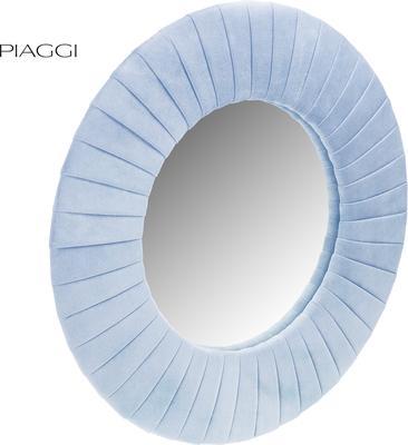 Piaggi blue velvet round mirror  image 2