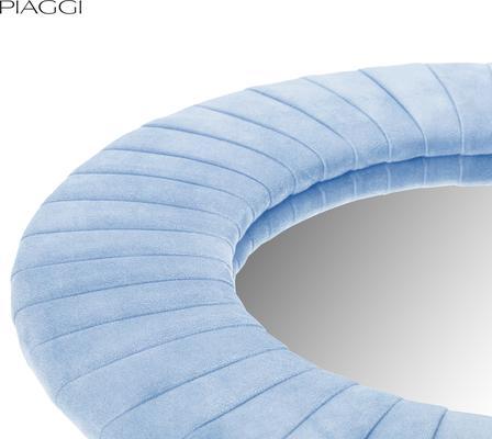 Piaggi blue velvet round mirror  image 3