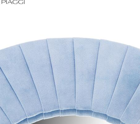 Piaggi blue velvet round mirror  image 4