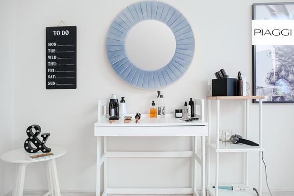 Piaggi blue velvet round mirror  image 6