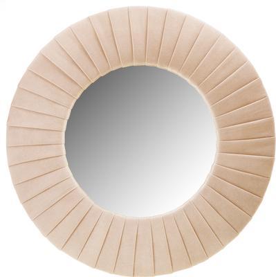 Piaggi beige velvet round mirror