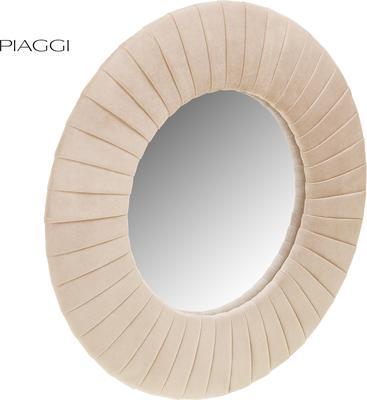 Piaggi beige velvet round mirror image 2