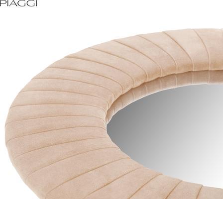 Piaggi beige velvet round mirror image 3