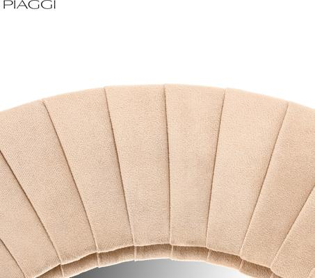 Piaggi beige velvet round mirror image 4