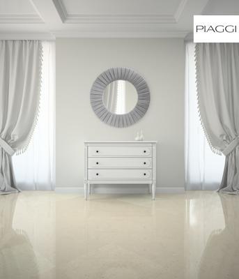 Piaggi beige velvet round mirror image 7