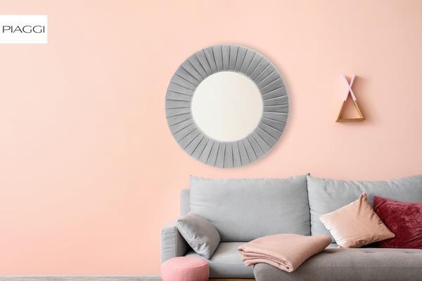 Piaggi beige velvet round mirror image 8