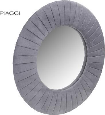 Piaggi grey velvet round mirror image 2