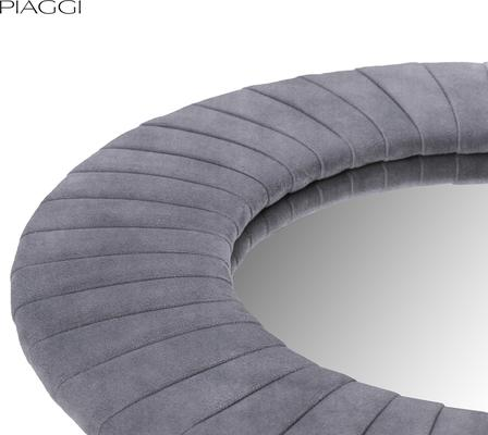 Piaggi grey velvet round mirror image 3