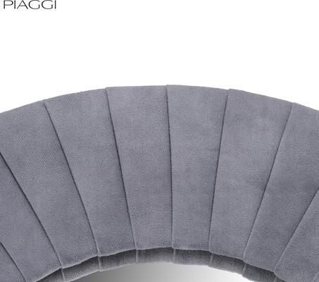 Piaggi grey velvet round mirror image 4