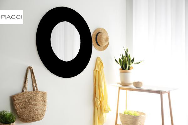 Piaggi grey velvet round mirror image 6