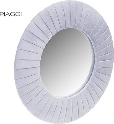 Piaggi light grey velvet round mirror image 2