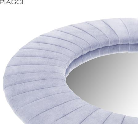 Piaggi light grey velvet round mirror image 3