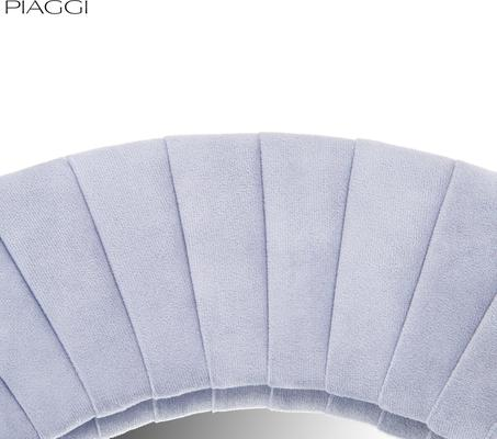 Piaggi light grey velvet round mirror image 4