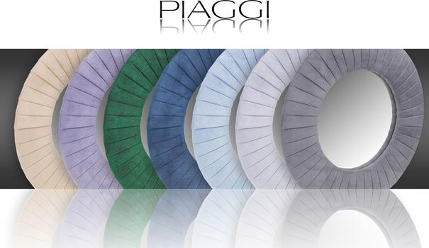 Piaggi light grey velvet round mirror image 5