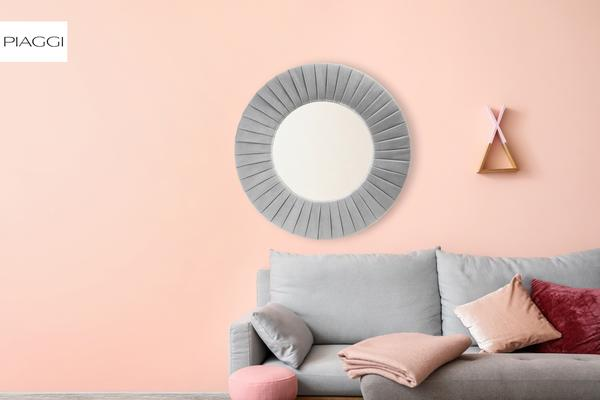 Piaggi light grey velvet round mirror image 7