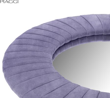 Piaggi violet velvet round mirror image 3