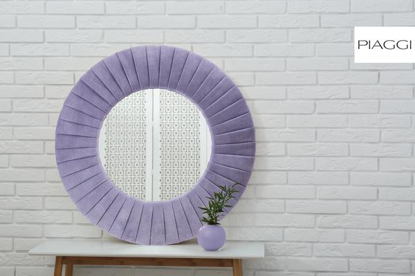 Piaggi violet velvet round mirror image 6