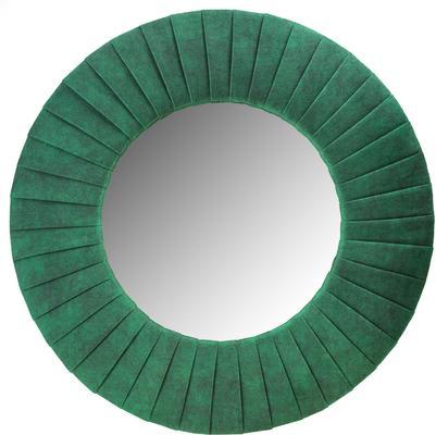 Piaggi green velvet round mirror
