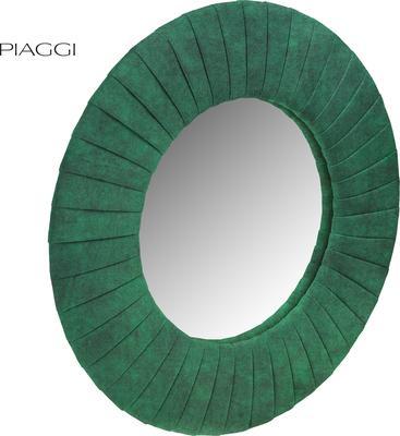 Piaggi green velvet round mirror image 2
