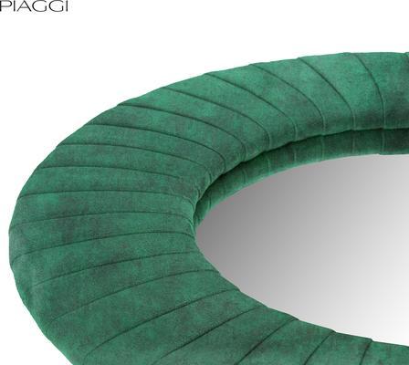 Piaggi green velvet round mirror image 3