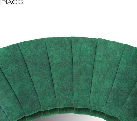 Piaggi green velvet round mirror image 4
