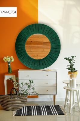 Piaggi green velvet round mirror image 6