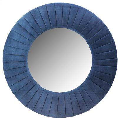 Piaggi navy blue velvet round mirror