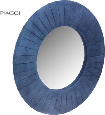 Piaggi navy blue velvet round mirror image 2