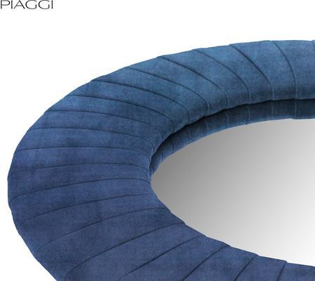 Piaggi navy blue velvet round mirror image 3