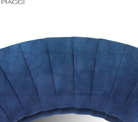 Piaggi navy blue velvet round mirror image 4