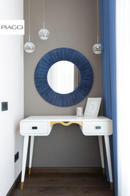Piaggi navy blue velvet round mirror image 6