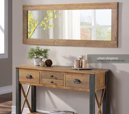 Urban Elegance Extra Long Rectangular Wall Mirror Reclaimed Wood