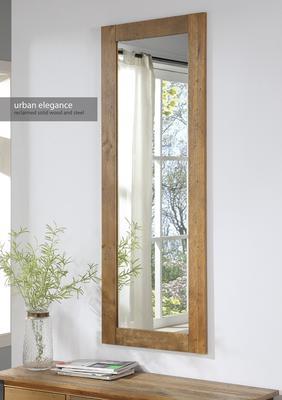 Urban Elegance Extra Long Rectangular Wall Mirror Reclaimed Wood image 2