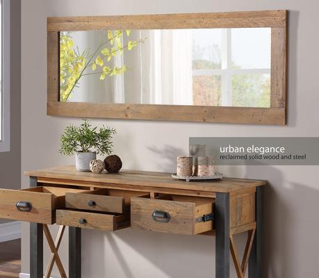 Urban Elegance Extra Long Rectangular Wall Mirror Reclaimed Wood image 3