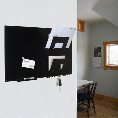 3 In 1 Magnetic Memo Board, Letter Rack And Key Holder - Black