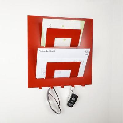 Stylish Metal Letter Rack With Key Holder - Red