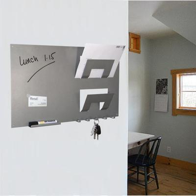 3 In 1 Magnetic Memo Board, Letter And Key Holder - Metallic Silver