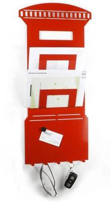 3 In 1 Post Box Magnetic Memo Board, Letter Rack And Key Holder - Red