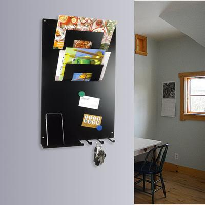 Vertical 3 In 1 Magnetic Memo Board,letter & Key Holder Black