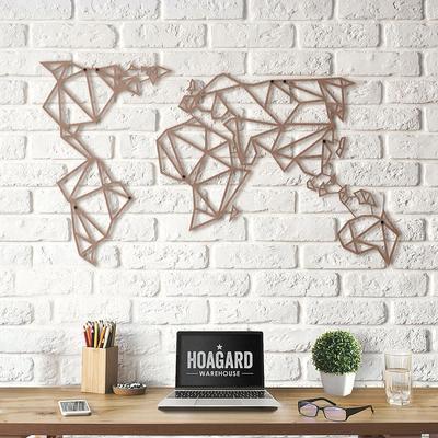 Geometric World Map Bronze