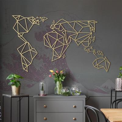 Geometric World Map Gold