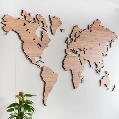 Wooden World Map Wall Art - Bamboo