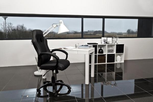 Race Desk Chair Padded Faux Leather with Gas Lift image 4