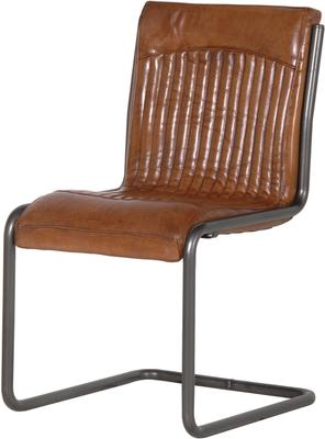Italian Retro Leather and Steel Office Chair