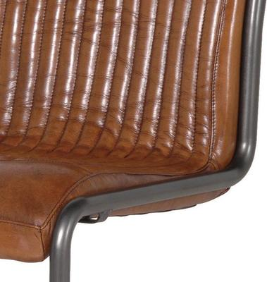 Italian Retro Leather and Steel Office Chair image 2